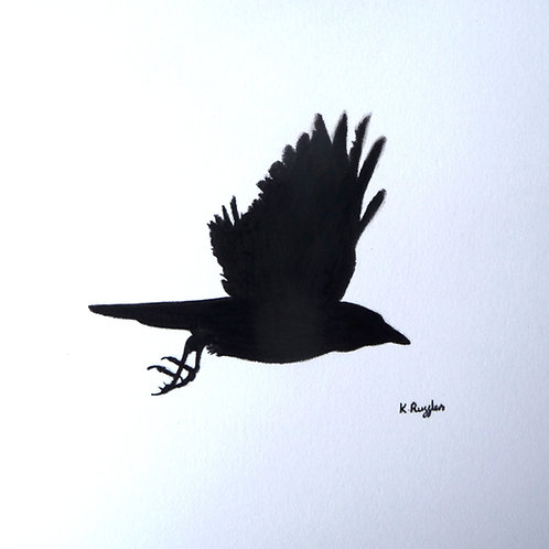 small pencil sketch of a crow in flight with wings up framed in oak