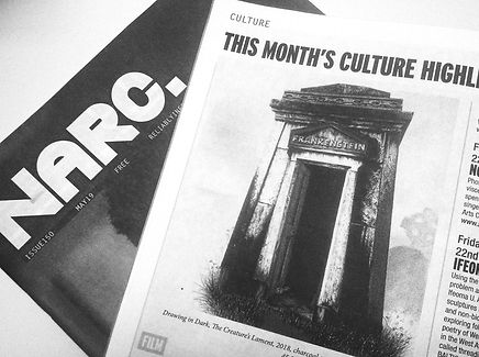 Narc Magazine, both cover and interior - issue 150, May of 2019. The open page shows the illustration for The Creature's Lament.