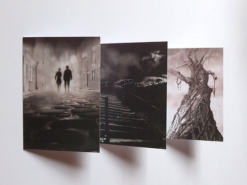 3 pack Tales in Sombre Tones blank horror cards 3 pack