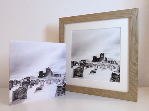 Whitby Abbey in the Snow framed print and card set.