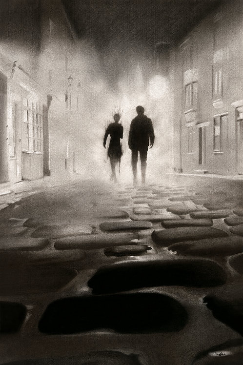 Two figures of man and woman walking on the fog down cobbled street in Whitby North Yorkshire drawing by Karen Ruffles
