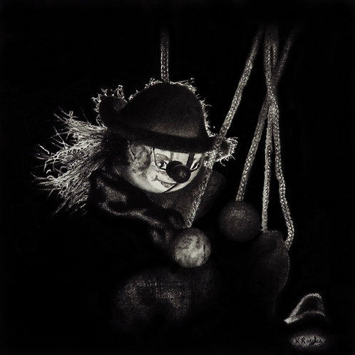 Creepy clown drawing black and white