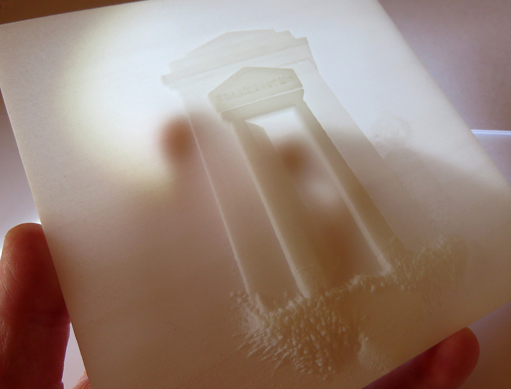 Another shot of the sample 3d showing light shining through the print from behind