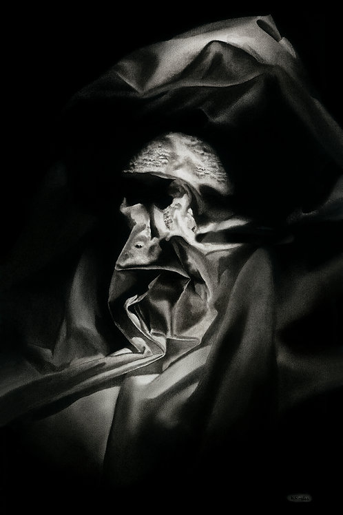 Face in a bedsheet original charcoal horror illustration of a nightmarish scene