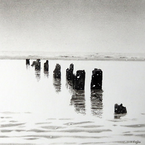 Sea and Snow, original charcoal drawing of Whitby beach