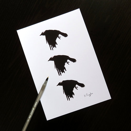 Limited edition signed print of three crows in flight by Yorkshire artist Karen Ruffles