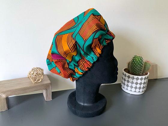 Bonnet satin wax vert, jaune et fuchsia