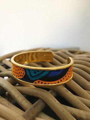 Bracelet jonc wax jaune et bleu