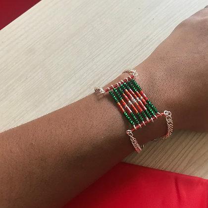 Bracelet style aztèque vert et rouge