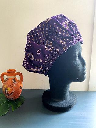 Bonnet satin ethnique violet et doré