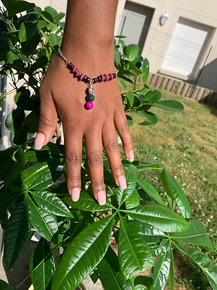 Bracelet ethnique rose et vert