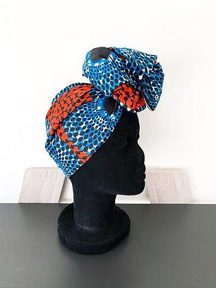 Foulard réversible et modulable Wax bleu etorange