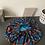 Thumbnail: Bonnet satin madras bleu et orange