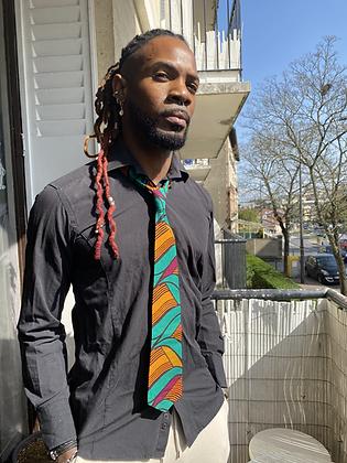 Cravate mixte, wax vert, jaune et prune