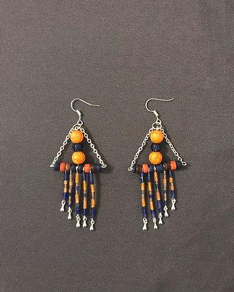 Boucles d'oreilles triangles bleu et orange