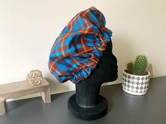 Bonnet satin madras bleu et orange