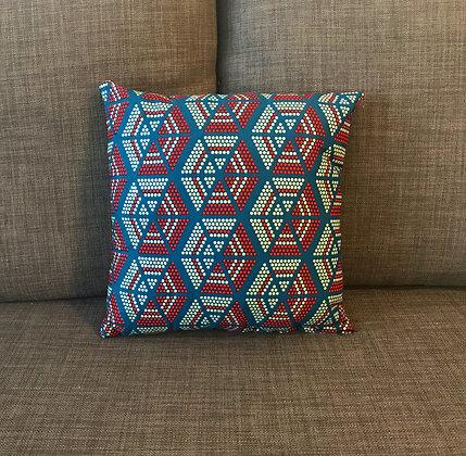 Coussin moyen hexagones rouge et bleu