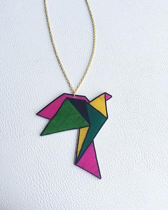 Collier oiseau origami multicolore