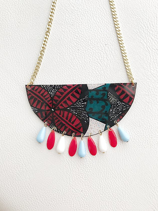 Collier wax rouge et turquoise