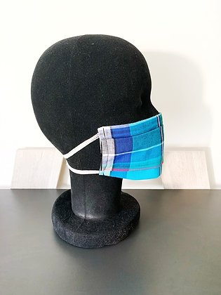 Masque barrière afnor madras bleu foncé