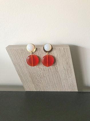 Boucles d'oreilles vintage orange et blanc