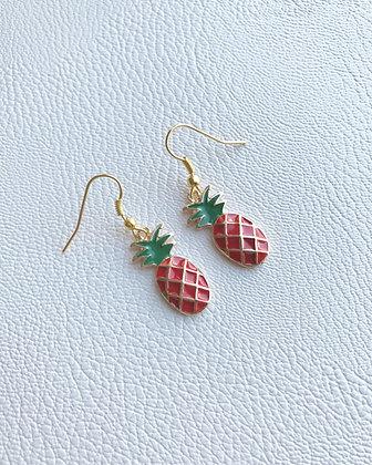 Boucles d'oreilles ananas rouge