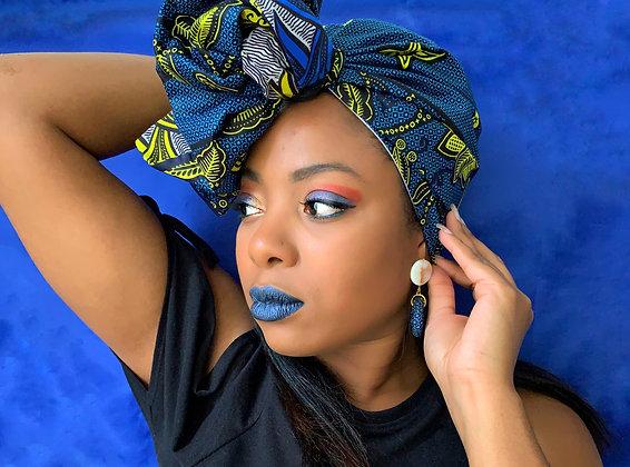 Foulard réversible et modulable wax bleu et jaune