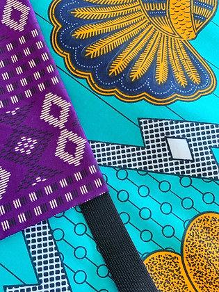 Foulard réversible et modulable violet et vert