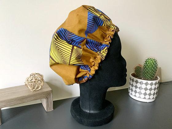 Bonnet satin wax bleu et beige