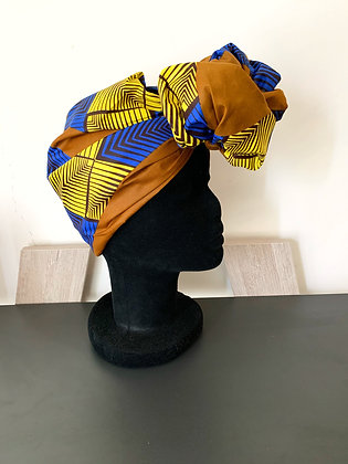 Foulard réversible et modulable Wax bleu, jaune et marron