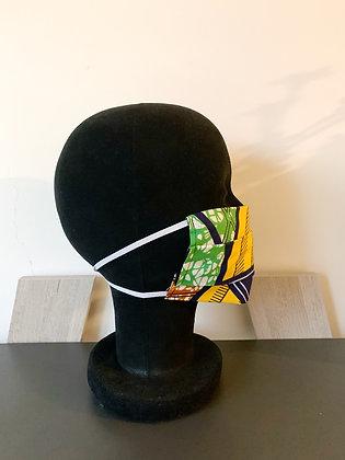 Masque barrière Wax jaune, marron et vert