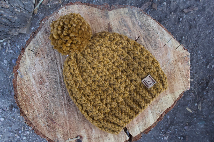 Top of the World Waffle Beanie - Gold