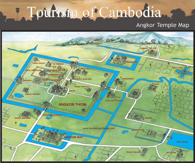 Angkor Complex Map provided by Tourism of Cambodia
