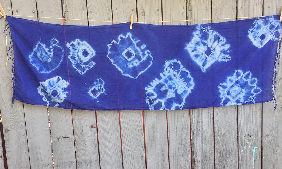 Shibori 100% cotton hand made, indigo dyed scarf