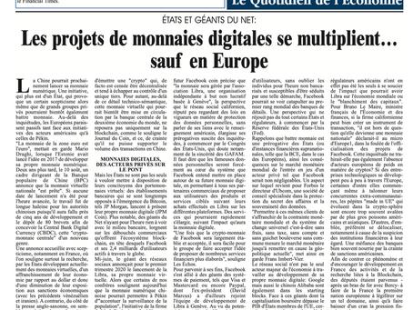 Les projets de monnaies digitales se multiplie... sauf en Europe