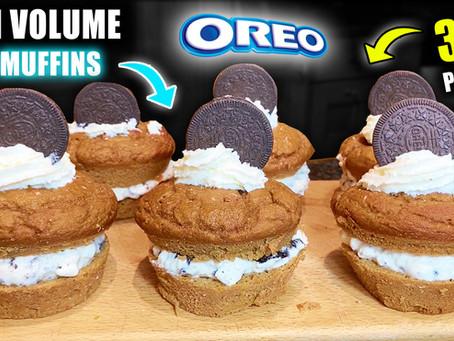 high volume oreo cream protein muffins