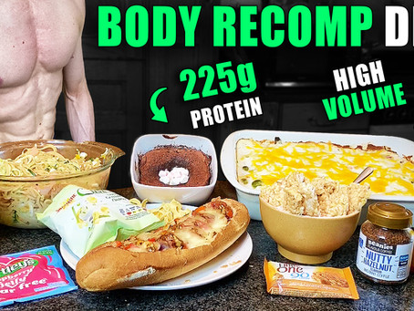 2400 Calorie Full Day of EATING FOR MUSCLE GAIN & FAT LOSS (BODY RECOMPOSITION DIET)
