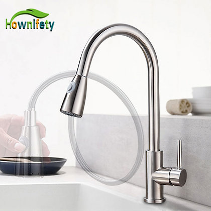 Pull Out Kitchen Faucet 2-Mode Sprayer 360 Rotation Single Handle