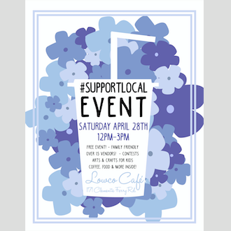 April's #supportlocal Event Poster!