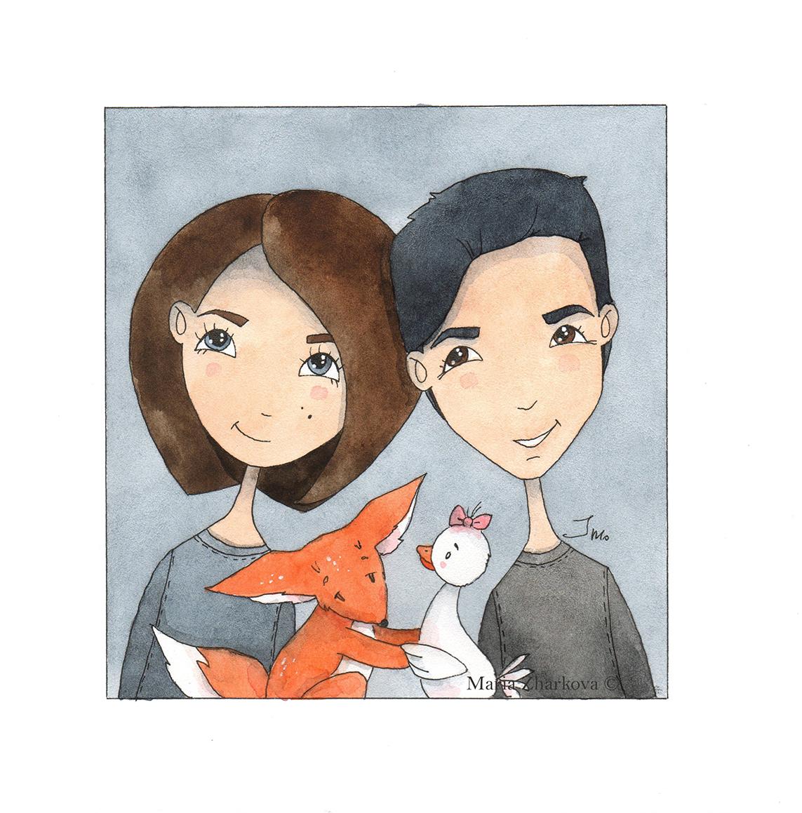 Серия иллюстраций пары
