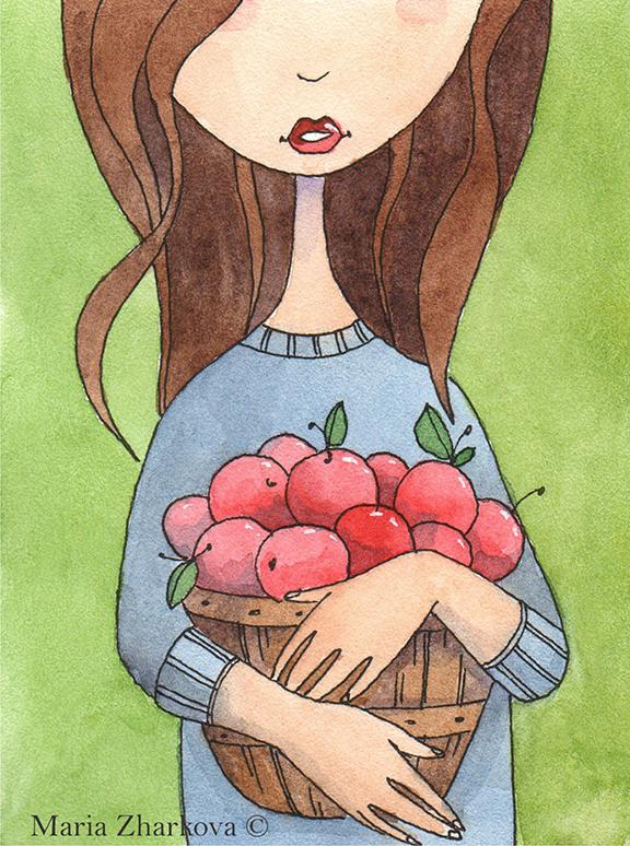 Девушка с яблоками...