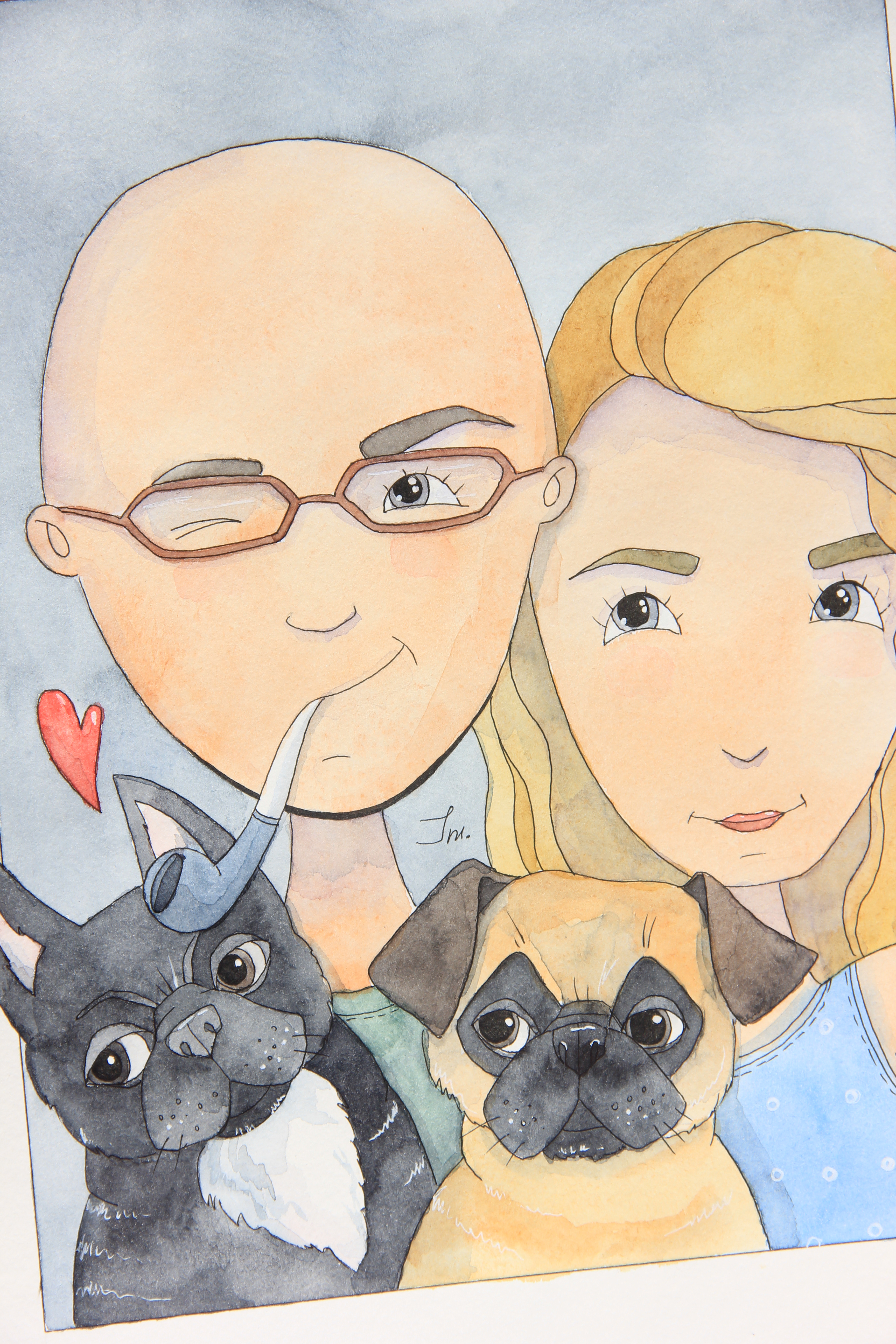 Иллюстрация пары и их питомцев