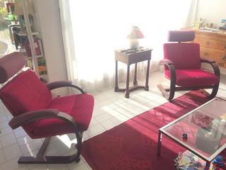 Avant-Après paire de fauteuils contemporains à Montpellier