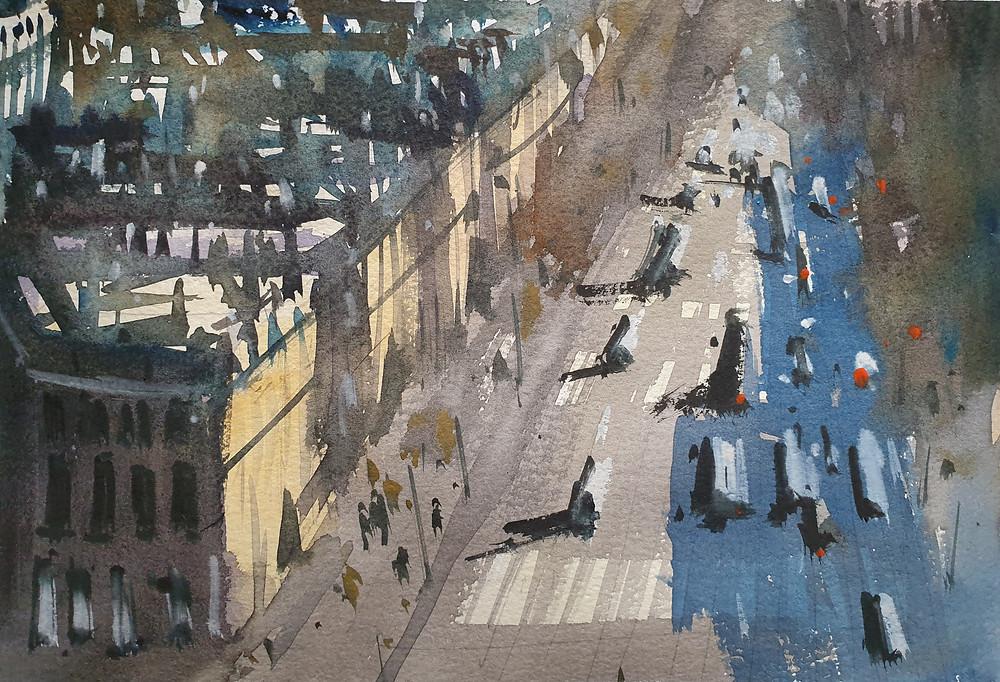 Paris, France, Watercolor, Avenue
