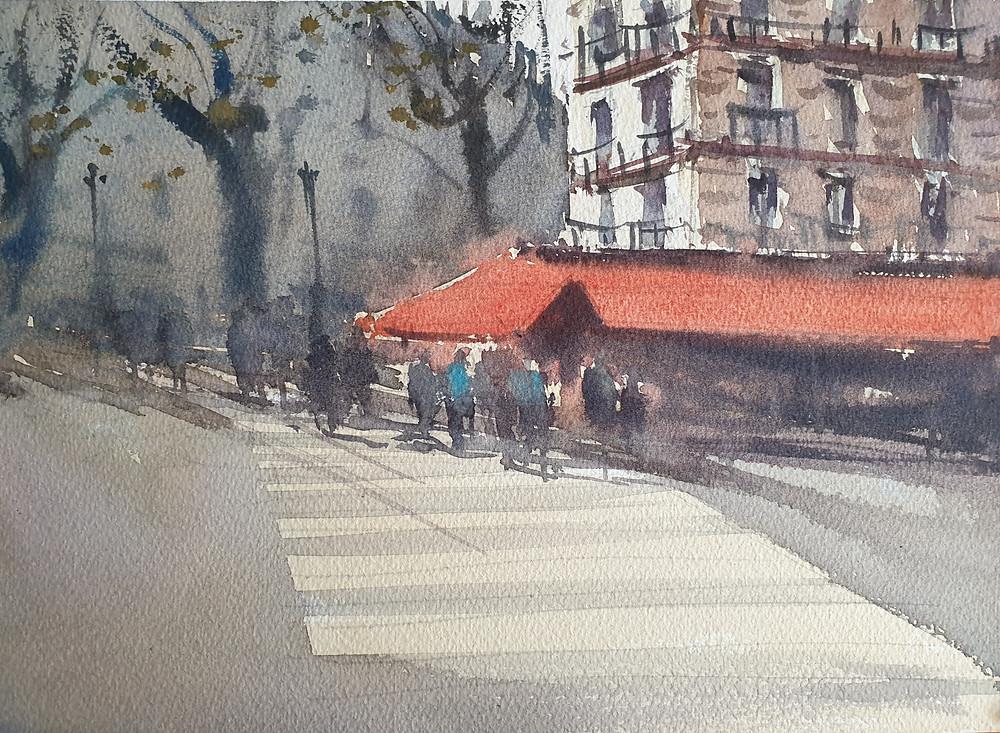Paris, Watercolor, France