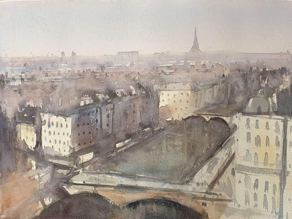 Paris, Street, France, Watercolor, Skyline, Panorama