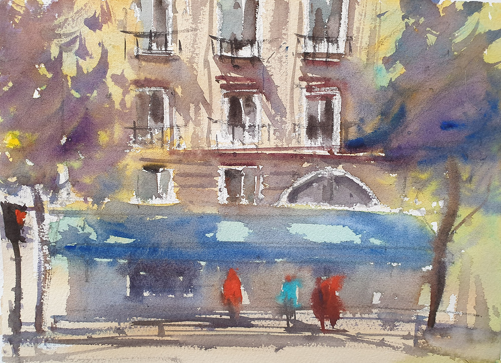 Paris, France, Watercolor