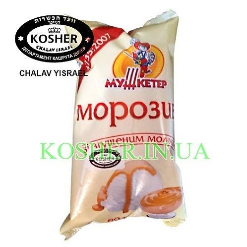 Мороженое кошер Пломбир Сгущенка Крем/Брюле ваф/ст, Мушкетер, 80г/ גלידת פלומביר