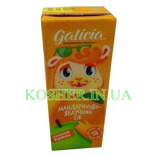 Сок кошерный Яблочно-Мандариновый 100%, Galicia, тетрапак 0,2л