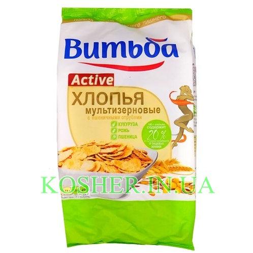 Хлопья кукурузные кошерные мультизер-ые с пшеничными отрубями, Витьба, 250г грн
